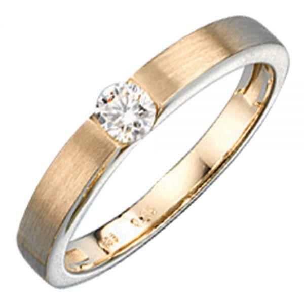 Damenring 585 Gold matt mattiert Diamant 0,25 Karat