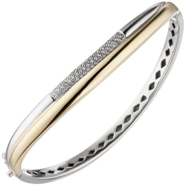 Armreif 585 Gold bicolor 55 Diamanten