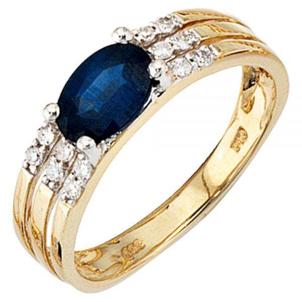 Saphirring 585 Gold 12 Diamanten