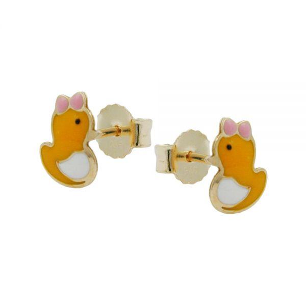 Stecker 7x5mm kleine Ente farbig emailliert 9 Karat Echtgold
