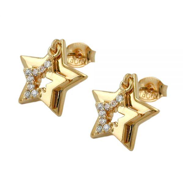 Stecker 13mm doppelter Stern mit Zirkonia vergoldet