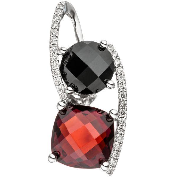 Anhänger 585 Gold 29 Diamanten Granat rot Onyx