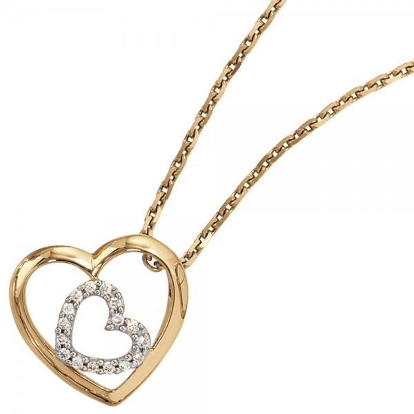 Herzanhänger 585 Gold Diamanten 0,12ct.