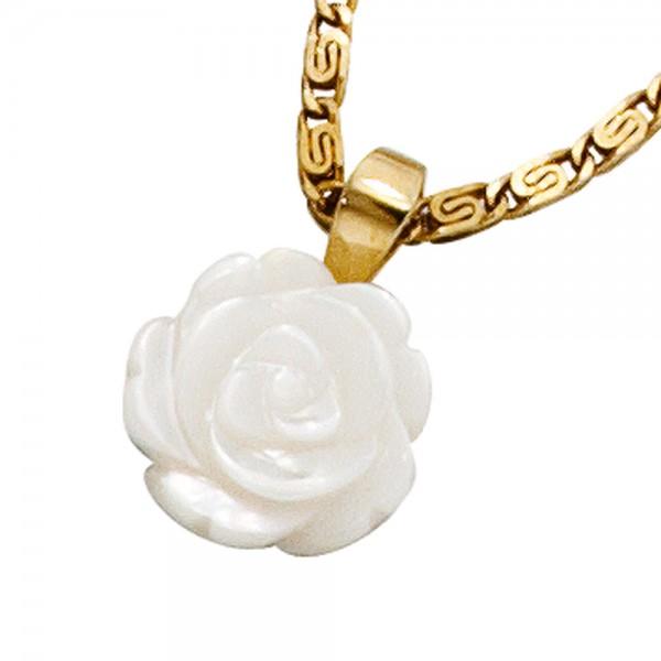 Perlmuttanhänger Rose 333 Gold