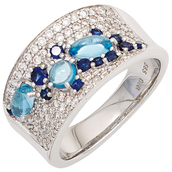 Saphirring 585 Gold Blautopase hellblau 81 Diamanten