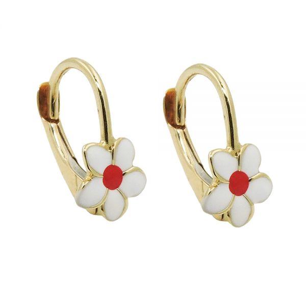 Ohrbrisur Ohrringe 13x7mm Blume weiß-rot emailliert 9 Karat Echtgold